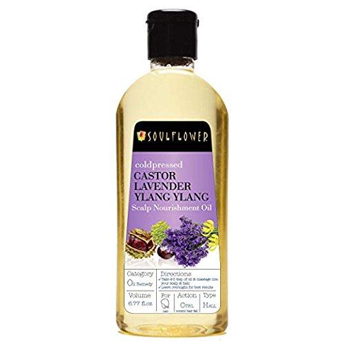 Soulflower Coldpressed Castor Lavender Ylang Ylang Scalp Nourishment Oil, 6.77 fl.oz, 100% (Ylang Ylang Lavender)