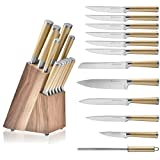 Gold Knife Set with Walnut Block, 12-piece Stainless Steel Gold Knives Set, Premium Upgraded Steel Full Tang, Knives Gold - NEW Design for Gold Kitchen Décor