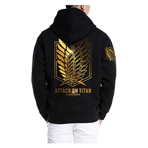 Pulle-A Anime Attack On Titan Shingeki No Kyojin Survey Corps Eren Halloween Cosplay Hoodie Blouse Survey Corps Adult Zip Hoodie Long Sleeve Sweater Jacket Costume Coats Black&Gold M (Attack On Titan Cosplay Eren)