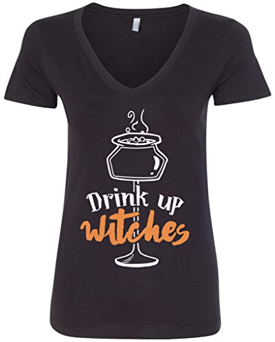 Threadrock Women's Drink Up Witches V-neck T-shirt XL Black -