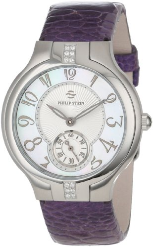 Philip Stein Women's 41SD-FMOP-OLPRM Round Sport Diamond Mother-Of-Pearl Light Purple Ostrich Strap Watch