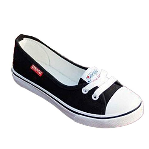 Ularma Mocasines de mujer, moda lona Casual transpirable pisos resbalón zapatos negro