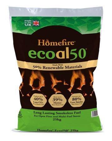 Homfire Ecoal50 - Bolsa de de 25 kg de carbón ecológico que ...