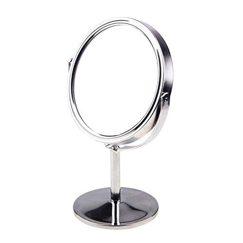 KevenAnna - Specchio da toeletta girevole a doppia faccia, con ingrandimento 4X e supporto da tavolo, diametro 8,26 cm, ideale per camera da letto e bagno
