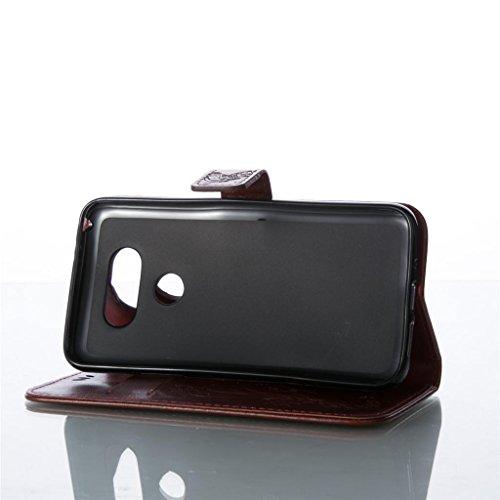 Erdong® Magnético Folio Flip Caso Con pata de cabra titular de la tarjeta Para Google Nexus 5X, Elegant Simple Book-style [Marrón flor de mariposa] patrón de impresión cuero del soporte Folio Pouch Pr
