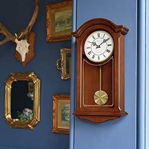 Reloj de pared tradicional de péndulo de Londres, caoba, 51 x 26 x 9 cm