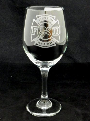 Firefighter First In Last Out 20oz Large Wine Glass. The perfect gift for any firefighter!