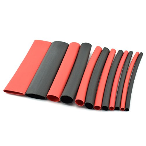 (DZS Elec 88pcs 80mm 3:1 Dual Wall Adhesive Lined Heat Shrink Tubing 6 Sizes 2 Colors Waterproof Insulation Sleeving Wrap Wire Cable Assorted Kit)