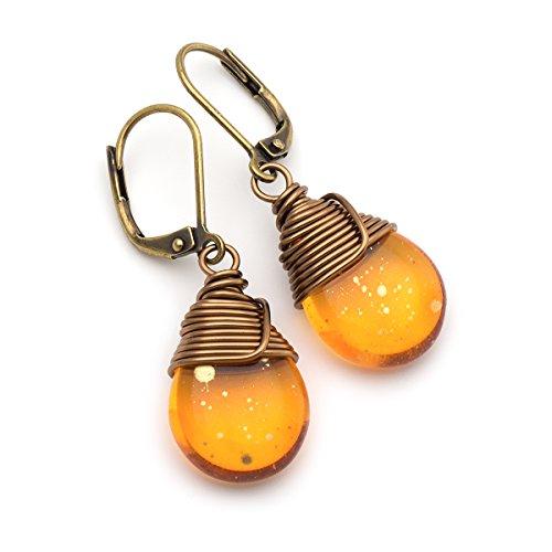 Orange Czech glass wire-wrapped bronze lever-back earrings -