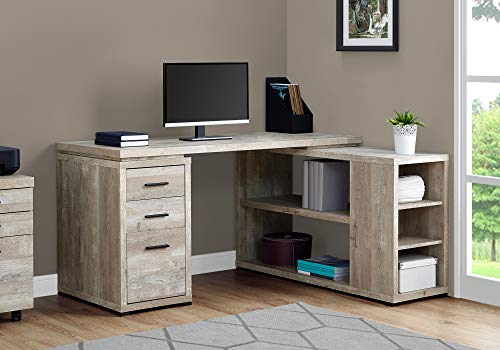 Monarch Specialties L-Shaped Corner Left or Right Facing Home & Office Computer Desk, 60″L, Taupe Reclaimed