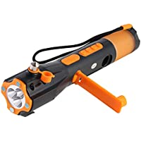 iRonsnow IS-073+ Car Survival Windshield Hammer Window Breaker Seatbelt Cutter, Emergency Survival kit Dynamo Hand Crank LED Flashlight with Cell Phone Charger, SOS Siren Strobe, Compass