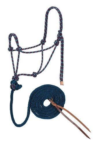 Weaver Leather Diamond Braid Rope Halter and Lead, Navy/Dark Red/White