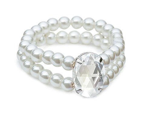 The Paragon Faux Pearl Stretch Bracelet - White Simulated Pearl and Rhinestone Bangle