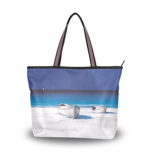 Women's Designer Handbags Fashion Big Canvas Washable Tote Bags Shoulder Bag Top-handle Bag with Beach And Boat Landscape for Shopping Travel - Hut Sunglass Beach Long