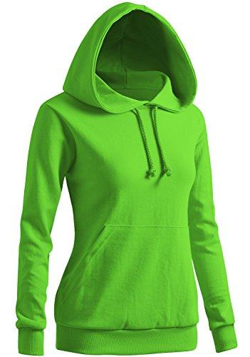 (CLOVERY Women's Long Sleeve Kangaroo Pocket Pullover Hoodie Orange Large)