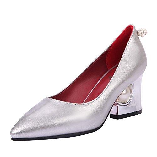 MissSaSa Damen Chunky high heel Pointed Toe Pumps mit künstlich Perlen und Strass Silber