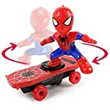 360 Degree Rotate Music Tumbler Spiderman Toy for Kids Spiderman Stunt Scooter with Colorful Light