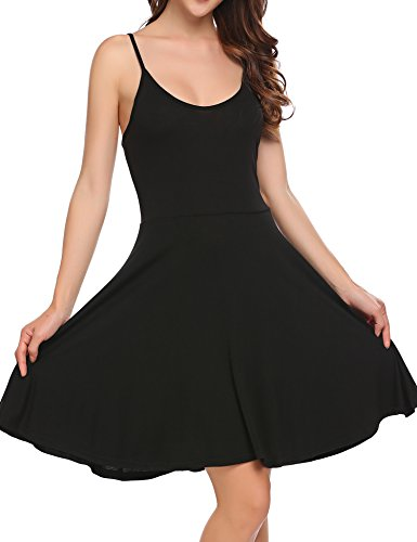 ACEVOG Womens Sleeveless Flared Swing Dress
