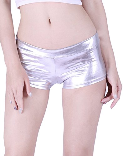 (HDE Women's Shiny Metallic Booty Shorts Liquid Wet Look Hot Pants Dance Bottoms)