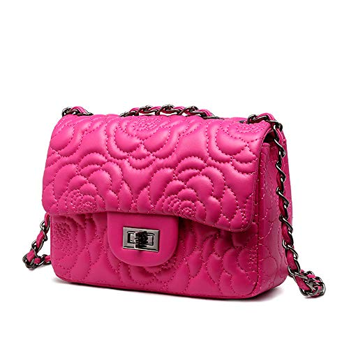 JOLLQUE Women's Quilted Crossbody Bag,Purse with Chain (Flower Hot Pink) ()