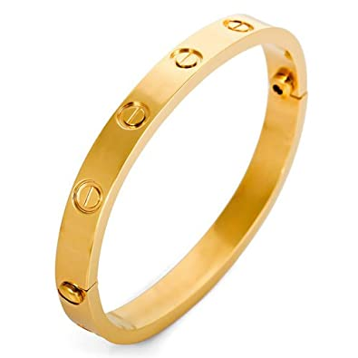 Amazon Justeel Jewelry Woman Gold Screw Stainless Steel Cuff