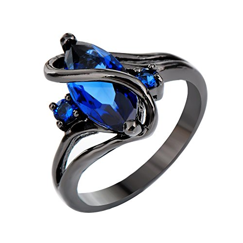 Rongxing Jewelry Blue Sapphire Marquis Rings Women's Zircon Black Gold Engagement Size ()