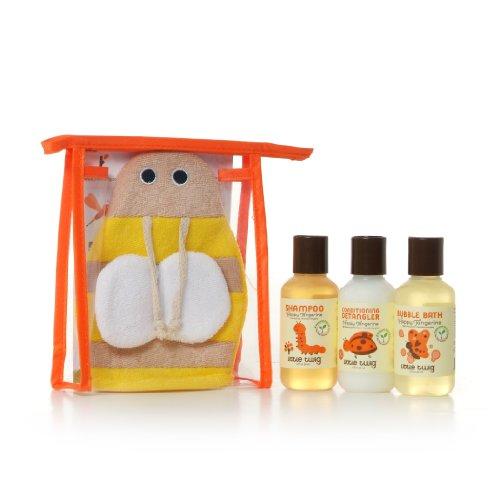 Little Twig All Natural Baby Travel Basics Set Hypoallergenic Gift Set With Bumblebee Bath Mitt  Shampoo  Conditioning Detangler And Bubble Bath  Happy Tangerine  2 Fluid Oz Bottles