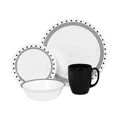 Corelle Livingware 16-Piece City Block Design Dinnerware, with Service for 4, Features Chip and Break Resistant Glass, is Microwave, Oven and Dishwasher Safe, with Bold and Bright Patterns, Scratch and Fade Resistant, with Stackable Design for Easy Storag