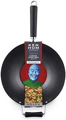 Ken Hom - Wok de acero al carbono, color negro, acero al carbono, negro, 31 cm