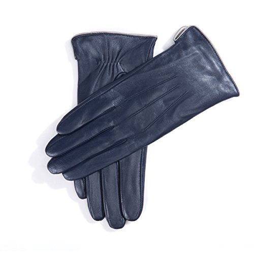 MATSU Women Winter Warm Leather 100% Cashmere lined Gloves TouchScreen 5 Colors M9906 (L, Navy Blue-TouchScreen) by Matsu Gloves (Image #1)