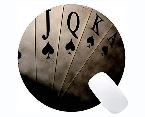 (Natural Rubber Round Mouse Pad,Poker Art Round Mouse Pad Stitched Border )