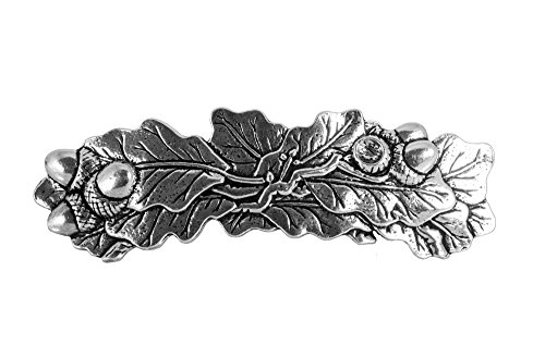 Oak Leaf Hair Clip - Large Hand Crafted Metal Barrette Made in the USA with an 80mm Imported French Clip By Oberon Design