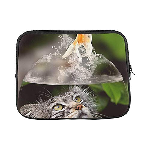 Design Custom Cat Face Goldfish Glass Close Up View Eyes Sleeve Soft Laptop Case Bag Pouch Skin for MacBook Air 11