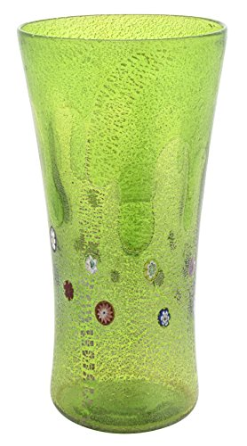 VASO LARGE GOCCIA Murano Glass Gold Leaf Murrine Vase Decor Venice Made Italy-Green by Boteghe - Real Made in Italy