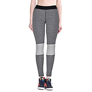 Lookatool Women High Waist Fitness Yoga Sport Pants Nine Points Leggings (S, Gray)
