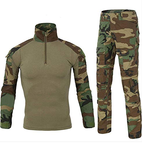 Men Combat T Shirt and Pant Set 1/4 Zip Camo Military Tactial Uniform with Long Sleeve BDU Airsoft Hunting Shirt (M, Jungle Camouflage)