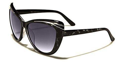 VG Designer ovale mode femme lunettes de soleil - COMPLET UV400 Protection GRATUIT vibranthut microfibre poche inclus - Noir/Marron, One Size