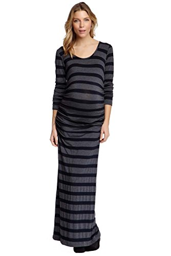 NOM Ruched Long Sleeve Maternity Maxi Dress - Black/Charcoal - X-Small
