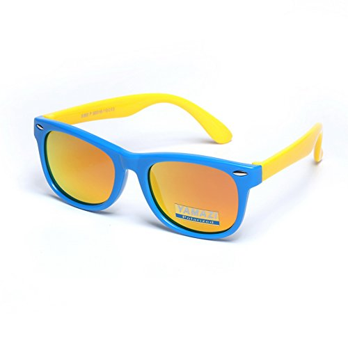 YAMAZI Kids Polarized Sunglasses Sports Fashion For Boys And Girls Mirrored Lens