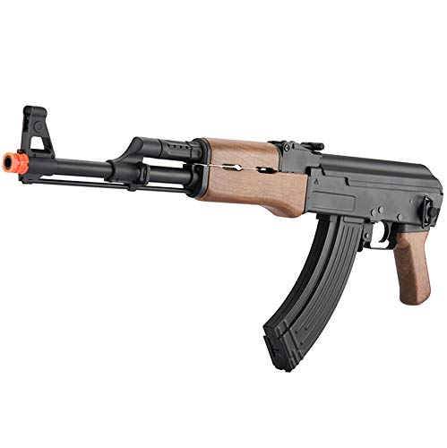 BBTac AK47 Airsoft Electric Gun with Metal Gear Box Full Length Polymer Body Fully Automatic 400 FPS ()