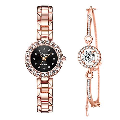 Reloj De Cuarzo Casual De Negocios con Pulseras Combinación De Regalo De Joyería para Mujer (Negro)