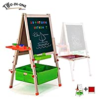 Gimilife Deluxe Easel for Kids, Folding Wooden Art Easel with Chalkboard, Whiteboard, and Storage Bins or Tray, Standing Easel with Magnetic Letters for Early Education (Wood, Fit for 2-14 Years Old)