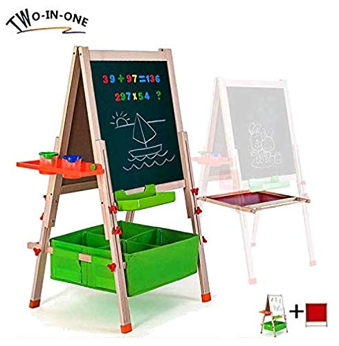 (Gimilife Deluxe Easel for Kids, Folding Wooden Art Easel with Chalkboard, Whiteboard, and Storage Bins or Tray, Standing Easel with Magnetic Letters for Early Education (Wood, Fit for 2-14 Years Old))