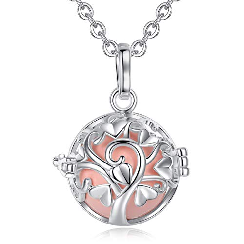 - EUDORA Harmony Bola Tree of Love Angel Chime Caller Pendant 20mm Musical Chime Prayer Bell 30'' Necklace Peach