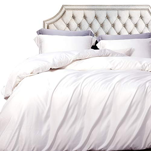 NTBAY Twin Satin Duvet Cover, White Kids Bedding Duvet Cover Set, 3-Piece, Ultra Luxury and Soft, Zipper Closure from NTBAY