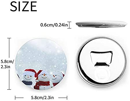 Abrebotellas redondas de muñeco de nieve navideño / Imanes de nevera Sacacorchos de acero inoxidable Etiqueta magnética 2 piezas