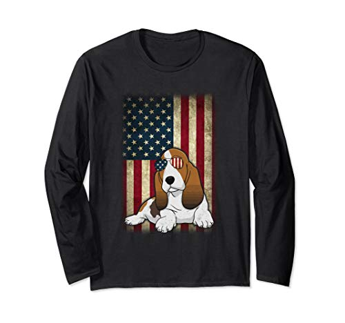 Basset hound Smile Flag American Independence 4th July Shirt Long Sleeve T-Shirt