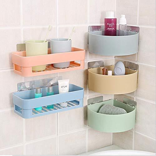 Krimen ABS Plastic Bathroom Corner Shower Caddy and Storage Holder Multipurpose Kitchen Bathroom Wall Holder Storage Rack Corner Shelf Multicolor (2 Bathroom Shelves + 3 Corner Triangle Shelves)