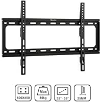 Xtrempro Low-Profile TV Wall Mount 1 Slim Fixed Bracket w/ Magnetic Removable Bubble Level for 32 - 65 inch LCD, LED, 4K or Plasma TVs VESA up to 600 x 400, 77 lbs Loading Capacity - Black (41033)