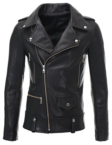 FLATSEVEN Mens Slim Fit Genuine Leather Motorcycle Jacket Press Stud (LJ701), L